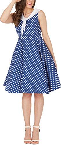 Black Butterfly 'Clio' 50's Polka-Dots Kleid mit besetztem Ausschnitt (Denim, EUR 40 – M) - 4