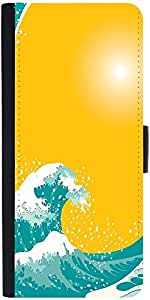 Snoogg The Great Wave Vector Background Designer Protective Phone Flip Case Cover For Lenovo Vibe S1