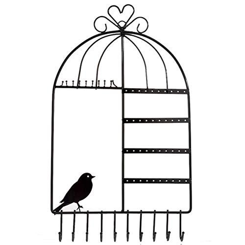 Rainbowie Schmuck-Organizer mit Vogelkäfig, Wandmontage, Vintage-Design, für Schmuck, Organizer (schwarz) schwarz