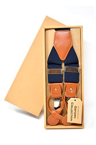 Oxford Collection Hochwertige Dunkelblaue Hosenträger Einstellbar - 3 Clips oder 6 Knöpfen (anpassbare) - Y Form - Klassisch, Elegant und Modern -