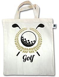 Golf - Lorbeerkanz Golfschläger Golfball - Unisize - Natural - XT500 - Fairtrade Henkeltasche / Jutebeutel mit kurzen Henkeln aus Bio-Baumwolle