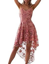 ecb3a99167 Ulanda-EU Womens Dresses Ladies Floral Printed Mesh Patchwork Dress Casual  Holiday Boho Beach Wedding