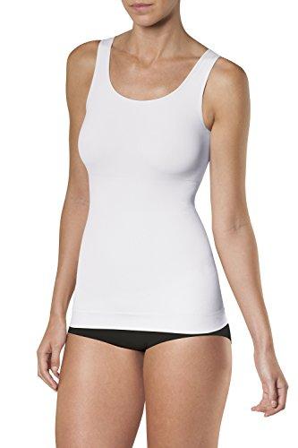 SLEEX Figurformendes Damen Unterhemd (mit Breiten Traegern), Weiss, Groesse S/M (Flexees Bauch)