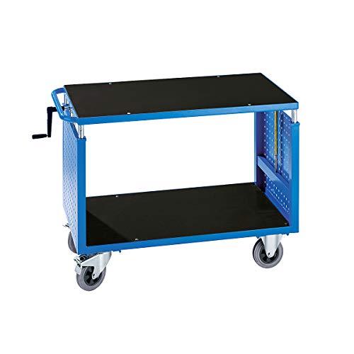 EUROKRAFT Montagewagen, höhenverstellbar - 1 Ablageboden - lichtblau - Fahrbare Werkbank Fahrbarer Arbeitstisch Montagewägen Werkbank Werkbank fahrbar Werkstattwägen Werkbank\\ fahrbar Werkbänke\\ fahrbar