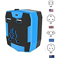 KINDEN Travel Adaptor with Built In 6000mAh POWER BANK Portable USB CHARGER External Battery & 2.5A Intelligent Dual USB Charging Ports & Universal AC Wall Socket Safety Fused 150+ Country Support Inc. [US UK EU AU]. 1 Yr Warranty. (6000mAh, Blue)
