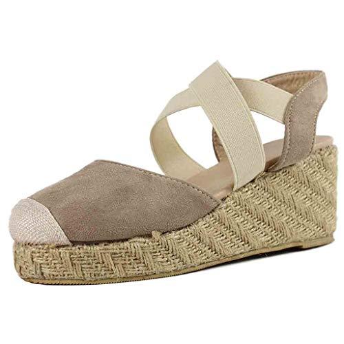 ODRD Sandalen Shoes Lässige Mode Frauen Gummiband Keile Sandalen Plattform Runde Kappe Schuh Mit Hohen Absätzen Sandalen Schuhe Strandschuhe Freizeitschuhe Turnschuhe Hausschuhe