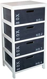Destockage discount meuble bois 4 tiroirs coffre blanc Destockage meuble cuisine