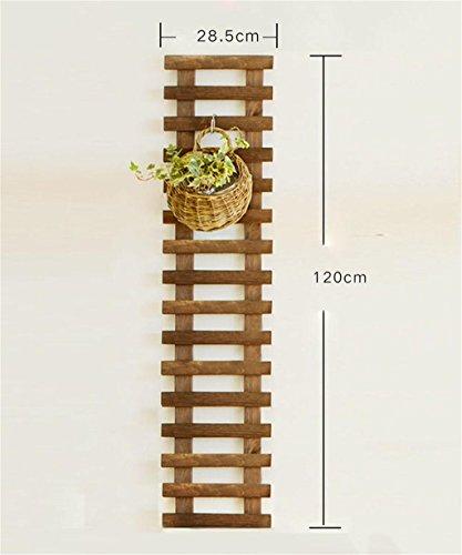 Fioriera da balcone in legno da appendere alla parete fiore rack parete vaso di fiori piante grasse ringhiera da parete con ripiani con gancio, carbonized color, 120 cm