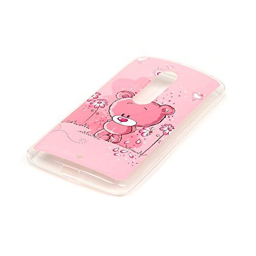 Motorola Moto X Play Cassa, Cozy Hut ® Motorola Moto X Play Custodia Cover [Cristallo Trasparente] Ultra Sottile/ Nessun Ingombro/ Antiscivolo/ Morbido TPU Trasparente Premium Resistente ai Graffi Cas orso rosa
