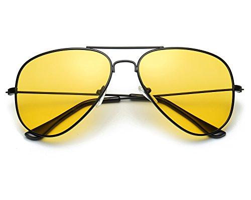 Red Peony Pilotenbrille Sonnenbrille HD Gelben Nachtsichtbrille Autofahren Polarisiert für Herren - 100% UV400 Schut (A/schwarz)