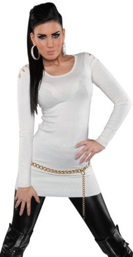 Koucla robe pull pour femme à encolure ronde & taille unique (36–40) Blanc - blanc