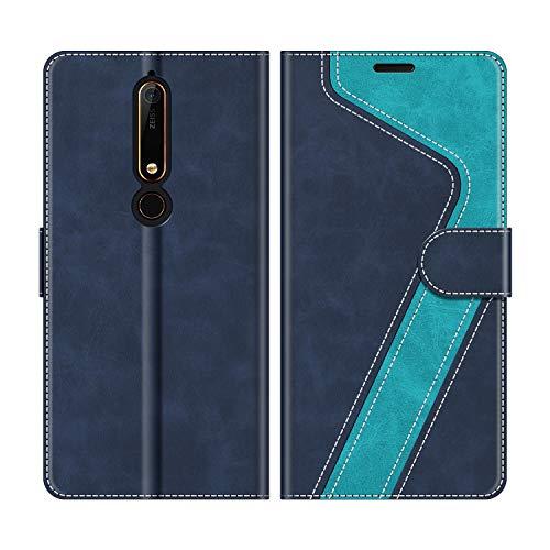 MOBESV Nokia 6.1 Hülle Leder, Nokia 6.1 Tasche Lederhülle Wallet Case Ledertasche Handyhülle Schutzhülle für Nokia 6.1 Version 2018, Modisch Blau