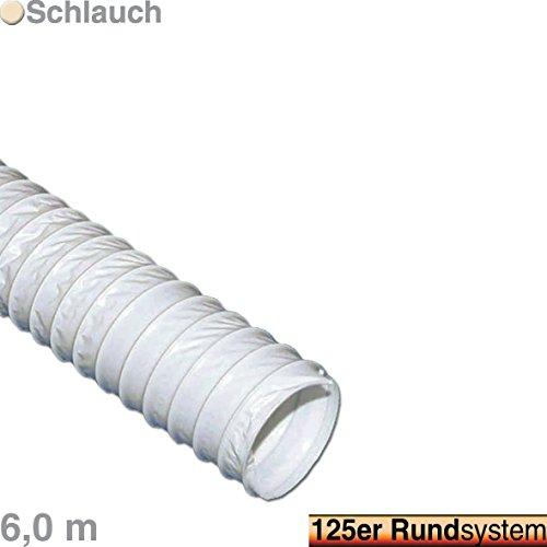 VIOKS 6m Abluftschlauch Luftschlauch flexibel für Abzugshaube Klimaanlage Trockner Dunstabzug Abluft Material: Gewebe Durchmesser: 125 mm 12,5 cm Schlauch Länge: 6,0 Meter