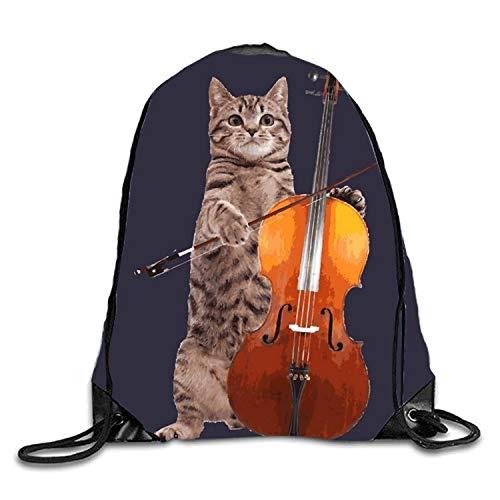 uykjuykj Tunnelzug Rucksäcke, Drawstring Backpack Rucksack Shoulder Bags Gym Bag Travel Backpack Cello Cat Cello Cat1 Lightweight Unique 17x14 IN