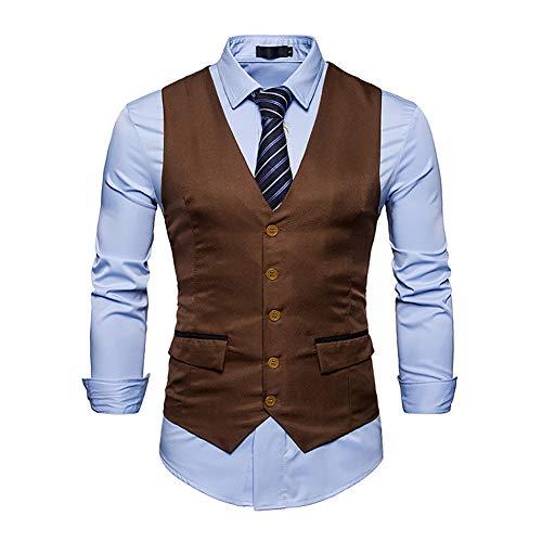 Männer Anzug Weste Gilet Homme Kostüm Mode Slim Fit Männer Weste Casual Business Hochzeit Herren Kleid Weste (Farbe : Braun, Größe : 2XL)