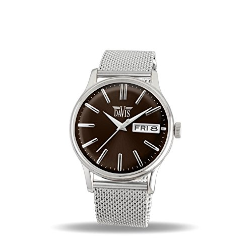 Davis 2091MB - Mens Classic Watch Retro Brown Dial Day/Date Mesh Strap