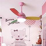 Ventilador de techo Macarons con iluminación Control remoto Lámpara LED Vivero Infantil Aula Patio de juegos Dormitorio Ventilador Luces Ventilador de techo Sala de estar Ventiladores, Blanco