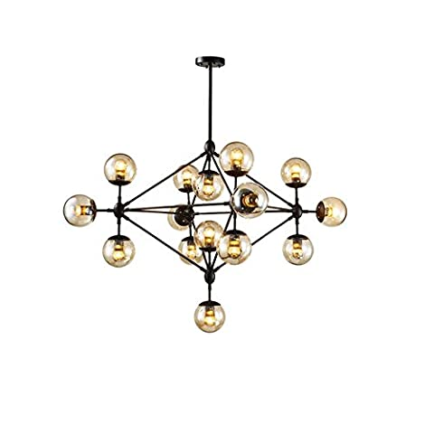 ZHOUZHOU Chandeliers Modern Contemporary Ceiling Light Black Iron with Cognac Color Glass Shades for Living Room Dining Room Kitchen Study