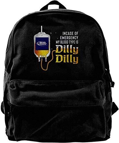 Bud Light Männer (Canvas Backpack Bud Light Incase of Emergency My Blood Type is Dilly Dilly Rucksack Gym Hiking Laptop Shoulder Bag Daypack for Men Women)