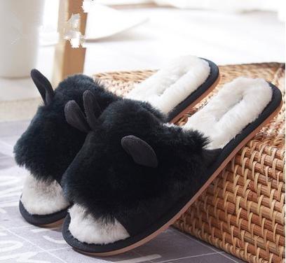 &zhou L'automne féminin et chaussons mignons hiver, mode chaussons coton chaud maison 38-BLACK