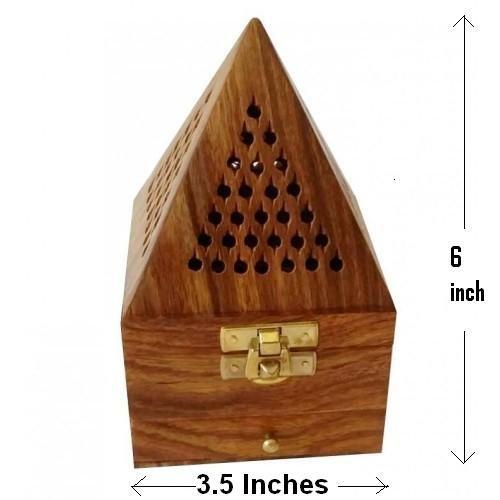 Bruciatore in legno stile piramide classico, supporto dhoop, con base quadrata e top cono shap doop holder, scatola bruciatore di incenso in legno