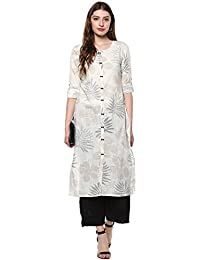 Janasya Women's Off White Cotton Straight Floral Print Kurta