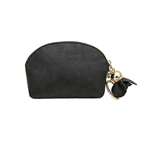 Mini Portemonnaie,Honestyi Damen Leder Kleine Süß Mini Brieftasche Holder Zip Geldbörse Clutch Handtasche Mini Portemonnaie Münze Brieftasche für Frauen Handgefertigtes Portmonee (Schwarz) (Münze Mini)