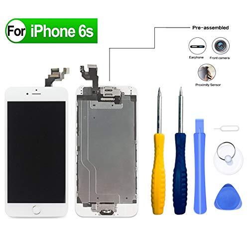 HDXYW Für iPhone 6S Weiß vormontiert Ersatz Display LCD Touchscreen Bildschirm Front Glas Weiß Home Button, Hörmuschel,Frontkamera & Näherungssensor mit Reparaturset Werkzeuge Weiß Touch Screen