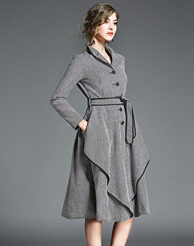 YiJee Donna Manica Lunga Risvolto Vestito di Plaid Autunno e Inverno Elegante A-Line Stile Abito per Signora Come immagine