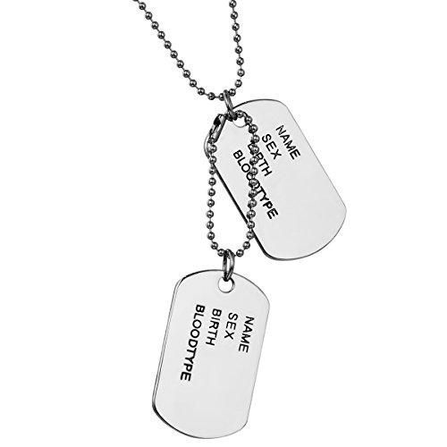 JewelryWe Collier Pendentif Homme Chaîne 70cm Dog Tag Double Plaque Militaire Nom Prénom Style Militaire Alliage Bijoux Couleur Argente
