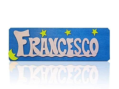 Targhette personalizzate per la porta o scrivania, di legno intagliate a mano, decorative e leggere, ideale per la stanza o sul mobile o come regalo originale. Misura 25x8cm.