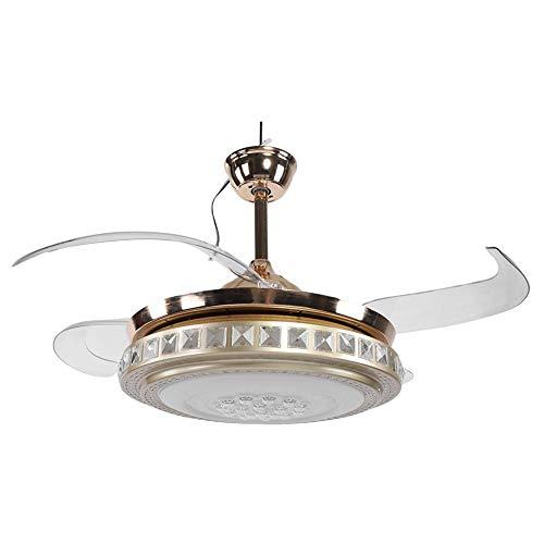 Ventilatore da soffitto/lampadario,moderno lampadario a led a ventaglio a pale retrattili con ventilatore a 4 pale e lampadario led a tre intensità di intensità,telecomando,65 watt,42 pollice,d'oro