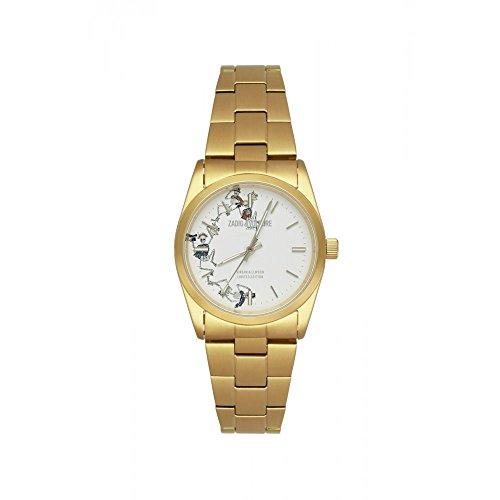 Orologio unisex Zadig & Voltaire a Quarzo Quadrante Bianco 36mm e bracciale dorato in acciaio inox zvf414