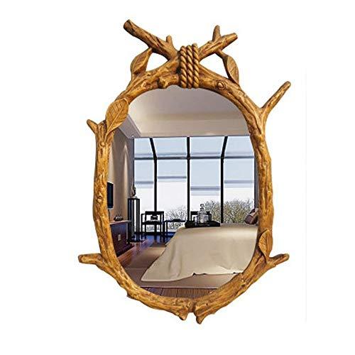 LRUIJIE-Mirror Arbeitsplatte Kosmetikspiegel Spiegel Holzspiegel Harzspiegel Wandmontage Kommoden Spiegelwände Dekorative Spiegel 46 * 62cm