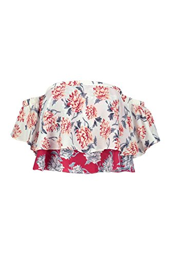 Multi Femmes Petite Lottie Floral Ruffle Cold Shoulder Bardot Top Multicolore