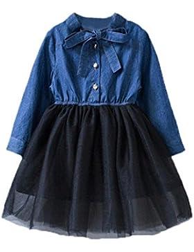 Bekleidung Longra Herbst Kleinkind Baby Kinder Mädchen Kleidung mit Bowknot Denim Patchwork Tüll Kleid Prinzessin...