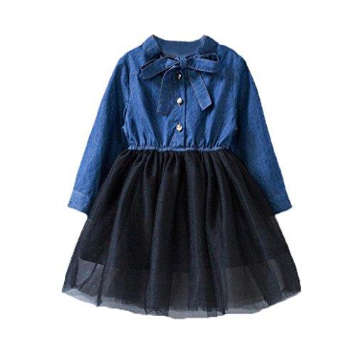 Bekleidung Longra Herbst Kleinkind Baby Kinder Mädchen Kleidung mit Bowknot Denim Patchwork Tüll Kleid Prinzessin Kleid Mädchen Langarm Jeanskleid(3-7Jahre) (100CM 4Jahre, Blue)