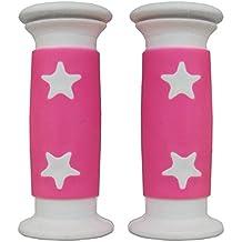 MV-TEK - Puños para bicicleta de niña, modelo con estrellas blancas sobre fondo rosa, 10 cm