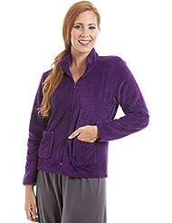 Gilet d'intérieur en polaire - pour femme - zip avant/doux - violet