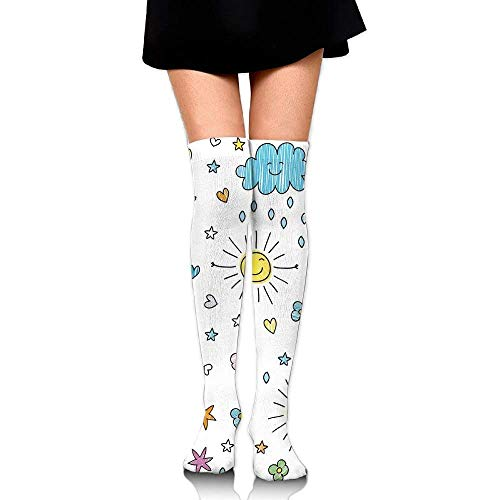 OQUYCZ Woman's Various Weather Conditions Drawn Cartoon Style Sunny Rainy Cloudy Day and Night Warm High Boot Socks