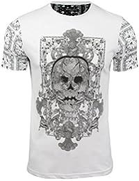 Brave Soul - T-shirt Homme Imprimé tête de mort devant et manches