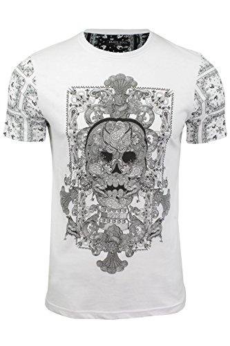 Herren T-Shirt mit Totenkopfdruck von Brave Soul Weiß