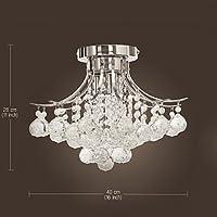 Modern K9 Crystal Chandelier 3 light(Chrome),Mini Style, Flush Mount, Ceiling Light Fixture for , Dining Room, Bedroom, Living Room