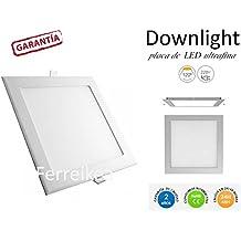 DiluxeLED - Pack X2 Downlight placa de LED CUADRADO 18W LUZ NEUTRA,1200Lumen.MEDIDAS 225 x 225mm.CORTE 200X200mm.LUZ TECHO COCINA SLIM ULTRAFIN