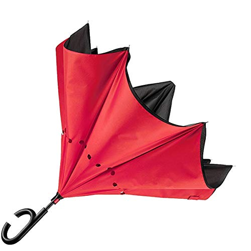 Flyinghedwig ombrello inverso reversibile antivento colori casuali