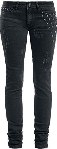Rock Rebel by EMP Megan Skull Rivet (Skinny Fit) Jeans donna nero W28L32
