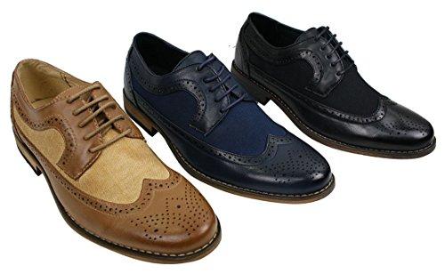 Herrenschuhe Blau Braun Schwarz Brogues Lederfutter Italienisches Design Retro Stil Schwarz