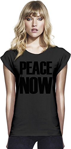 PEACE NOW Womens Continental Rolled Sleeve T-Shirt Large (Shirt Womens 1960 Hippie)