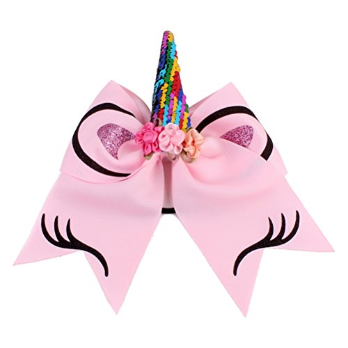 r Hair Bows with Ponytail Holder Large Bows Elastic Tie for Teens Girls Cheerleader (Pink) ()