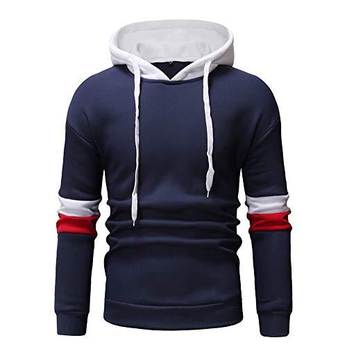 Xmiral Hoodies Herren die Farbe Pullover Langarm-Kapuzenpulli Baumwolle Tops Splicing (L,Blau 2) -